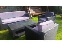 rattan sofa set 4 piece wicker weave garden furniture table corner patio