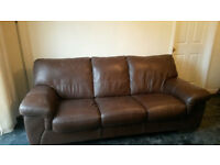 3-seater brown leather sofa and matching chair
