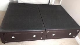 Brown faux leather effect double bed with drawers.
