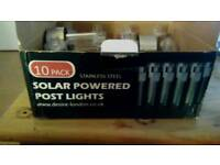 10 stainless steel solar powered post lights