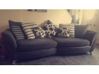 Grey fabric/suede sofa, swivel cuddler chair and chair