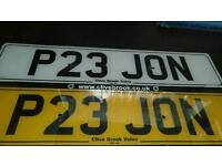 PRIVATE NUMBER PLATE..P23 JON....ON RETENTION CERTIFICATE AND READY TO TRANSFER...