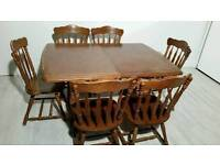 Large Rustic Style Oak Extendable Dining Table and 6 Chairs