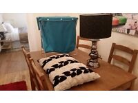 lamp, cushion and laundry basket for sale