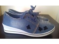 denim wedges trainer shoe size 5 new butterfly embroider valentino style