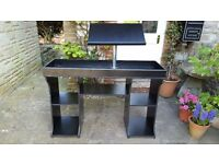 Black MDF DJ Deck & Mix Stand with Lap Top Stand
