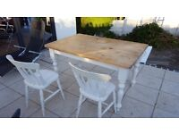 Vintage/rustic shabby chic kitchen dining table and chairs (wooden)