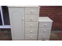 Small wardrobe and bedside drawers