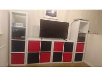 White Ikea storage units with red and black storage boxes £80 ono