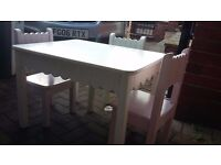 Children's solid wood table and 4 chairs