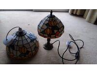 BEAUTIFUL TIFFANY PENDANT AND MATCHING LAMP SHADE