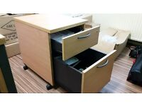 TWO Drawer WOODEN Filing Cabinet OFFICE CABINET