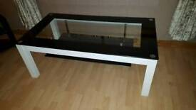 Black and white coffee table.