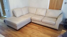 Leather Corner Sofa (Cream) Marks & Spencers