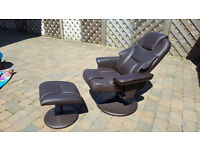 Leather Recliner with Foot Stool - Excellent Condition, Brown