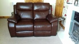 3 and 2 seater brown leather recliner suite for sale