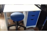 WHITE DESK WITH MATCHING STOOL