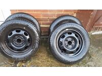 "13"" 4x100 wheels with all NEW TYRES"