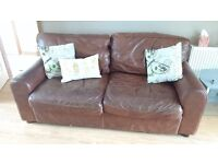 JOHN LEWIS BROWN ANILINE LEATHER 2/3 SOFA- VINTAGE INDUSTRiAL SHABBY CHIC