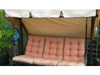 3-SEATER SWINGING HAMMOCK WITH QUALITY FOAM CUSHIONS AND COVER