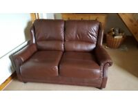 Leather two-seater sofa and two armchairs (one a recliner)