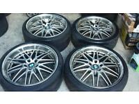 """20"""" 5x120 BMW staggered alloys with tyres"""