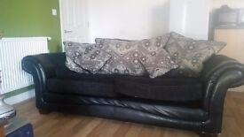 2 seat sofa, black and cream