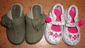 2 Pairs NEW Girls Shoes Unisa Leather Clogs + Keds Floral Pumps UK 5