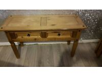 2 draw oak console table
