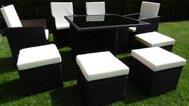 Brand New Rattan Garden Furniture Cube Set Table and 4 Chairs 4 stools in Mixed Brown