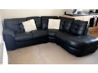 Black Leather Corner Sofa great condition