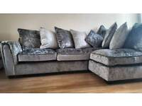 BRAND NEW Crushed Velvet Corner Chaise Sofa Silver Grey FREE LOCAL DELIVERY