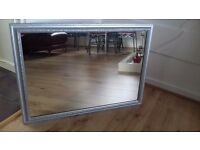 Large silver frame mirror