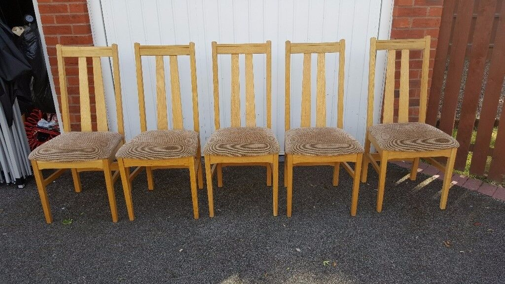 5 Oak and soft Padded Seat Dining Chairs