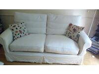 White Double Sofa Bed with Wood Slats and Thick Mattress Zipped Washable Covers