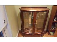 Vintage Retro Glass Display Cabinet Cocktail Cabinet 2 Door 2 Shelf Sideboard Side Board