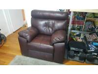 Premium reclining brown leather armchair