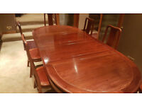 6 seater mahogany Dining table and chairs.