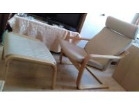 IKEA POÄNG Armchair together with POÄNG footstool. Very good used condition