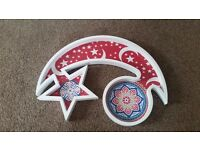 New Wooden Crescent Plate with Round and Star Plate Stuck together for Sweets