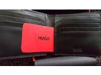 "NEW HUGO BOSS ""ELEMENT"" 8CC SOFT BLACK GRAINED BI-FOLD WALLET WITH BOSS PRESENTATION BOX"