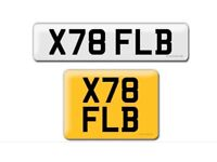 X78 FLB private cherished personalised personal registration plate number