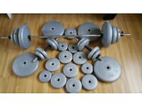 Complete York Weights Set. With Barbell, 2 Dumbells and 118kg worth of weights