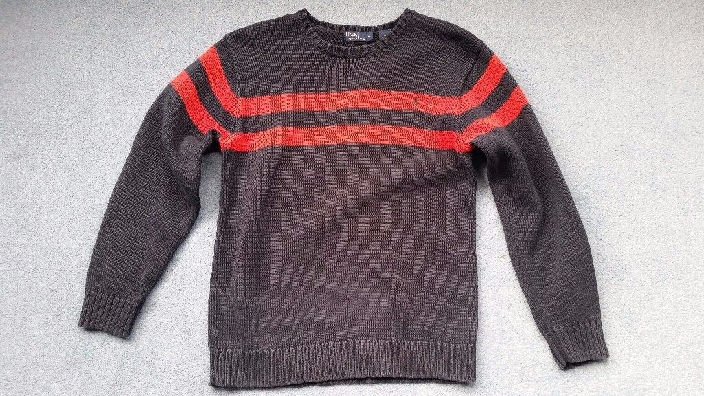 Ralph Lauren Jumper, Mens Small Size, Navy with Red Stripes, Contact me soon as, Cheap price at £12