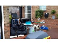 Camping equipment - many items used only once including the tent.