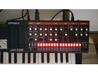 Roland jx03 boutique synth module. 4 weeks old and immaculate boxed with power supply. £199.