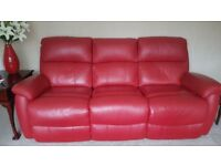 Red Italian Leather Suite, electric recliner chair and recliner sofa beautiful condition