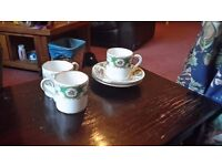 Coalport coffee cups and saucers broadway green