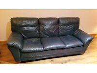 Navy Leather Suite - couch and 2 chairs