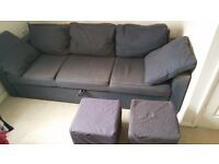Sofa bed in good condition with two matching stools 100 Pounds